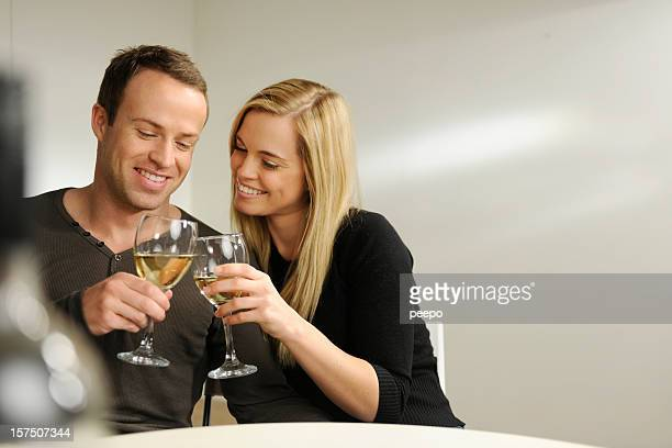 attractive couple drinking wine