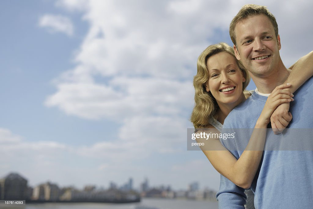 attractive couple outdoors : Stock Photo