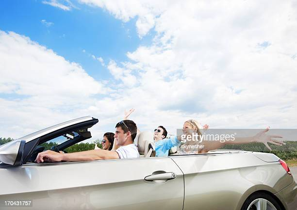 Attractive couples enjoying in the road trip.