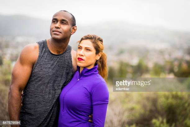 Attractive Diverse Couple Working Out