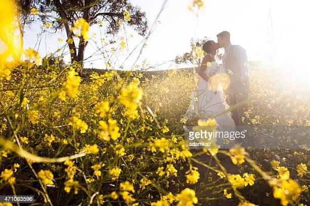Attractive Diverse Wedding Bride and Groom