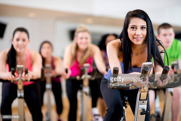 Attractive Female in Spinning Class