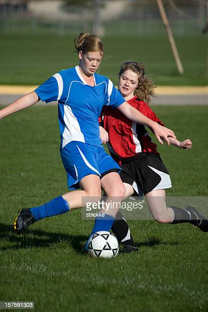 Attractive Female Soccer Players Battle for Fifty-fifty Ball