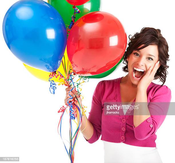 Attractive Happy Young Woman with Birthday Balloons