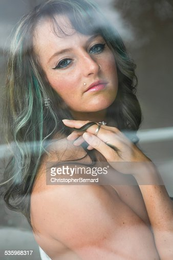Attractive nude woman with bleached hair. : Stock Photo