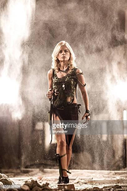 Attractive warrior woman.