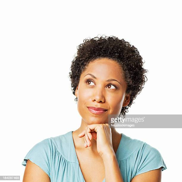 Attractive Woman Deep in Thought - Isolated
