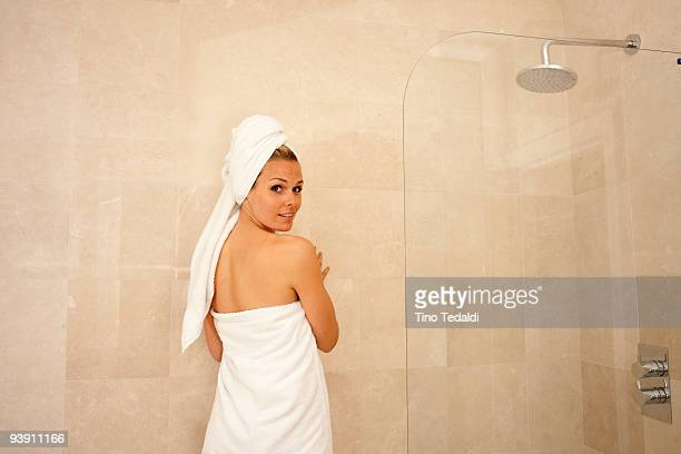 Attractive woman in shower