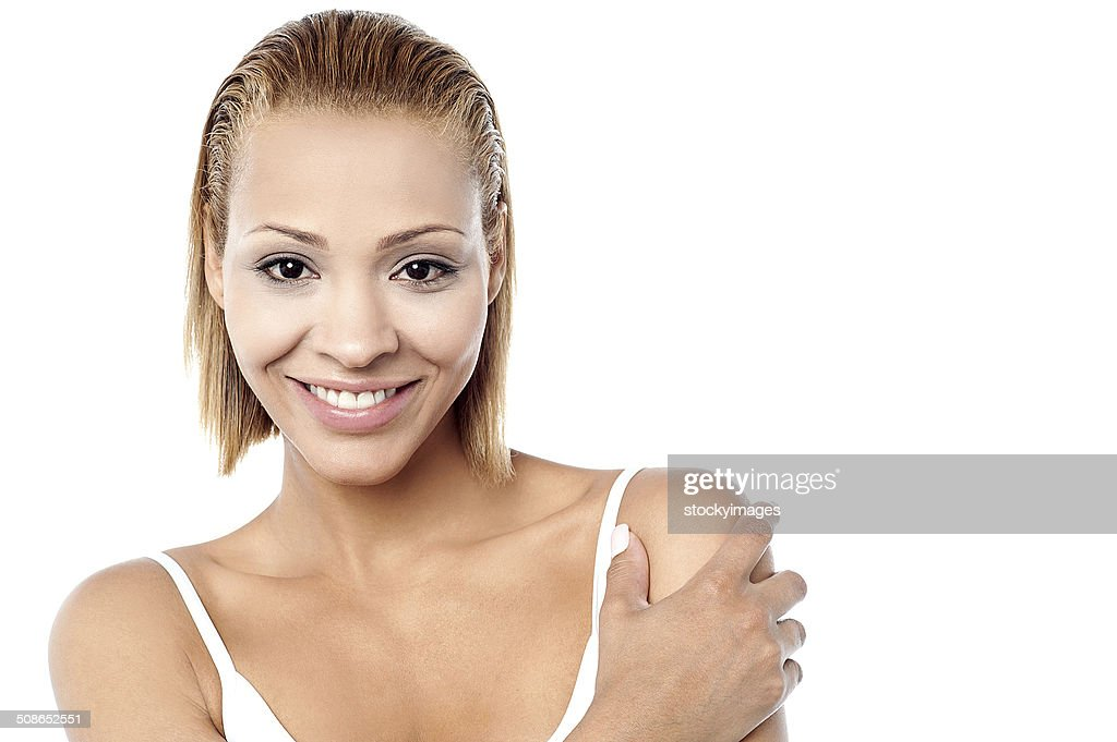 Attractive woman on white background : Stock Photo