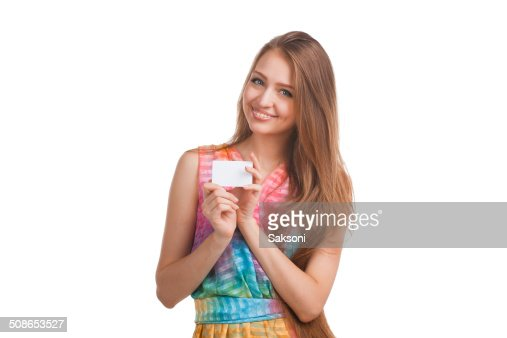 Attractive woman with business card : Stock Photo