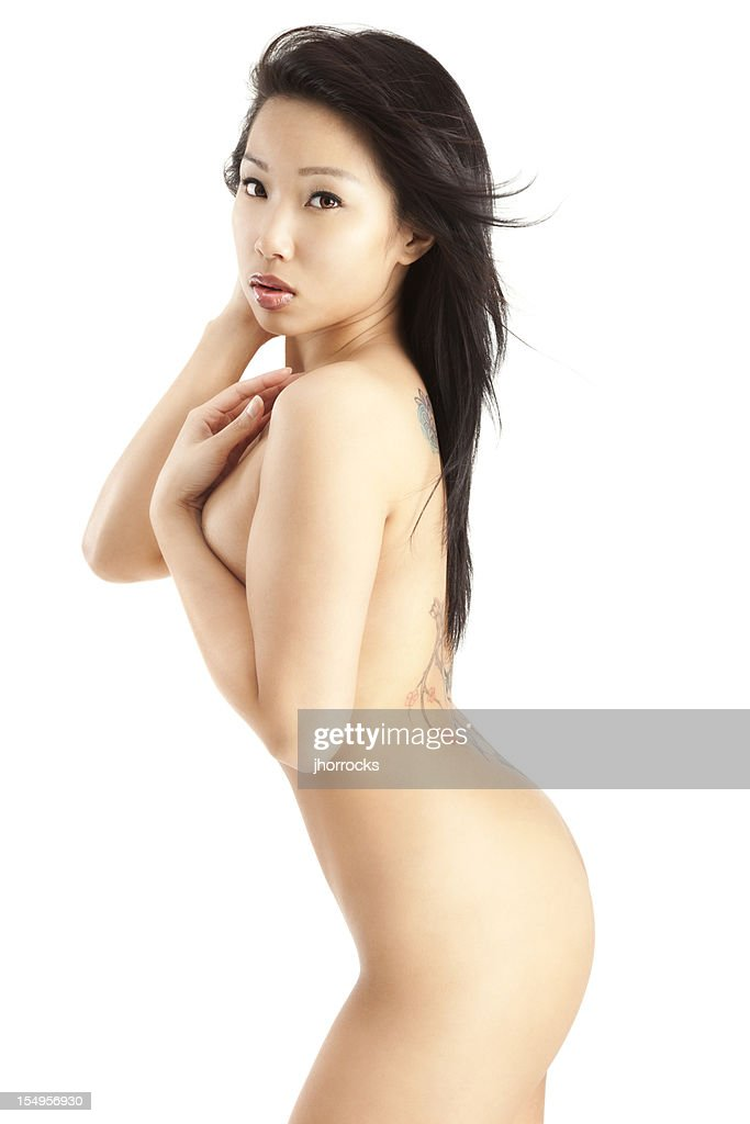Variant young nude asian girls on white background
