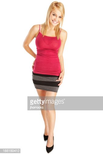 Attractive Young Blonde Woman in Red Camisole and Gray Skirt
