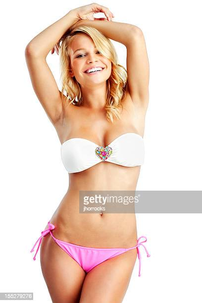 Attractive Young Blonde Woman in White and Pink Bandeau Bikini