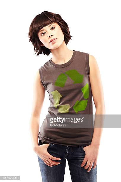 Attractive Young Brunette with Recycle Logo on Her T-shirt. Isolated