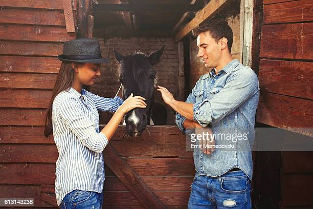 Attractive young couple stroking a black horse.
