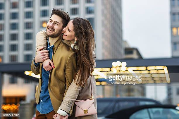 Attractive Young Couple Visiting  Potsdamer Platz Berlin