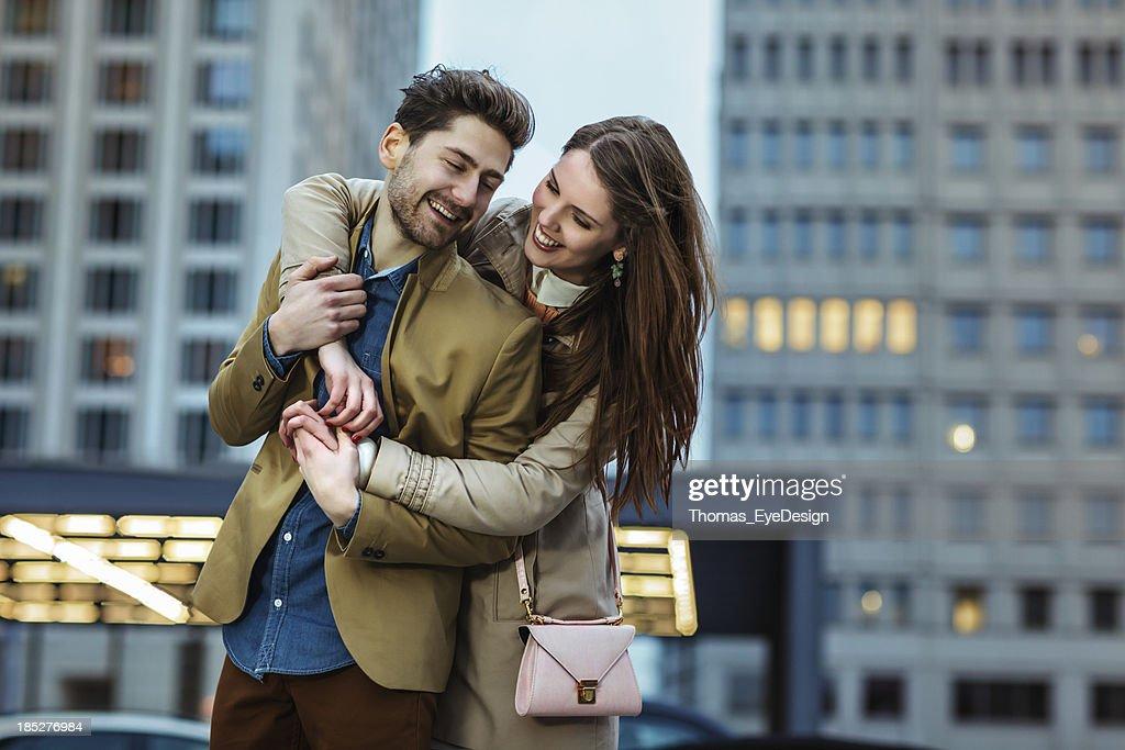 Attractive Young Couple Visiting  Potsdamer Platz Berlin