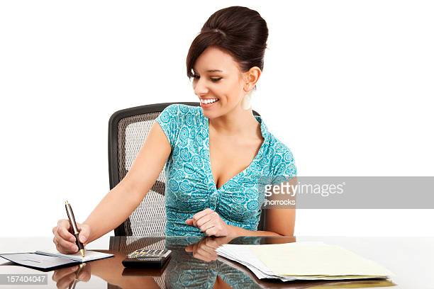 Attractive Young Woman Happily Paying Bills