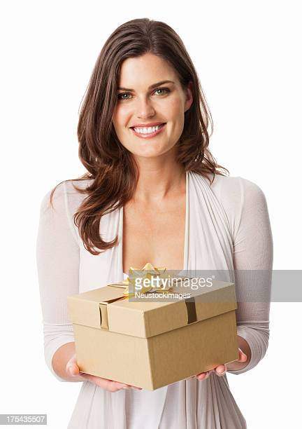 Attractive Young Woman Holding Gift - Isolated