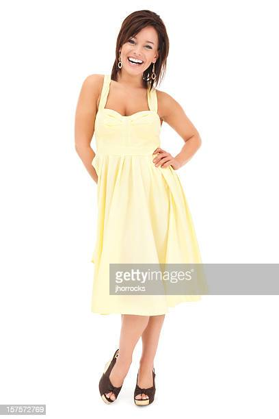 Attractive Young Woman in Bright Yellow Sun Dress