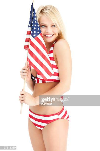 Attractive Young Woman in Red White and Blue Bikini