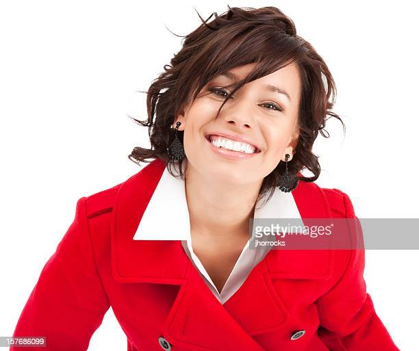 Attractive Young Woman in Red Wool Jacket