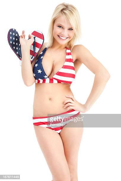 Attractive Young Woman in Star Spangled Bikini
