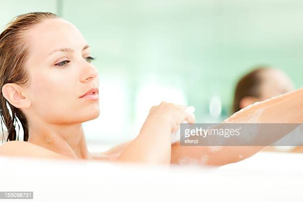 Attractive Young Woman Taking Bath