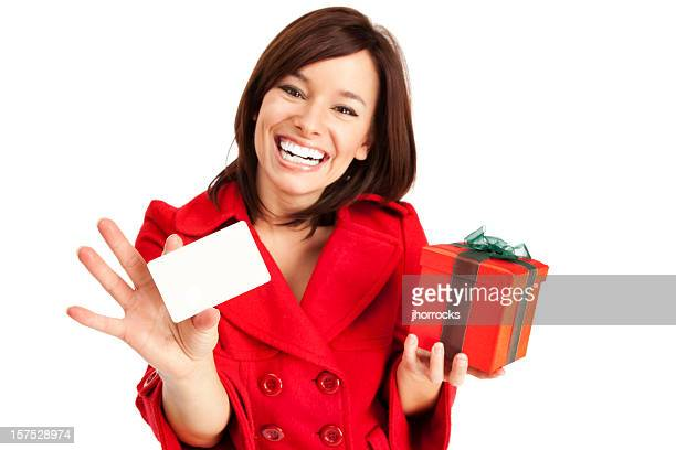 Attractive Young Woman with Gift Card and Box