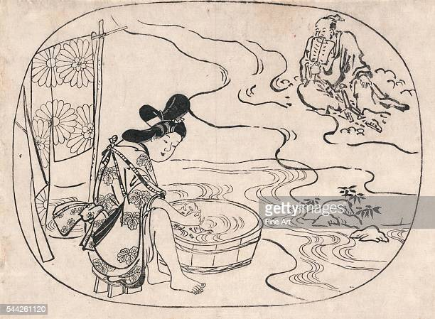 Sugimura Jihei Kume no sennin Date Created/Published between 1685 and 1695 Medium 1 print woodcut 268 x 381 cm Kume Sennin or Kume the Immortal a...