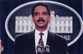 US Atty for DC Eric Holder speaking in serious portrait in White House press room
