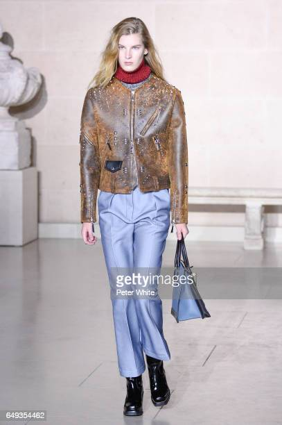 Atty Mitchell walks the runway during the Louis Vuitton show as part of the Paris Fashion Week Womenswear Fall/Winter 2017/2018 on March 7 2017 in...