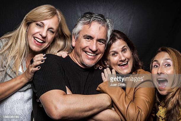 ature man with three mature women, Portrait