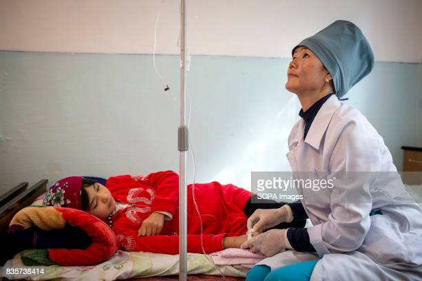 Atyrgul Tagaibekova received intravenous liquids for care of hepatitis at Zhugushtun Hospital for infectious diseases The hospital depends on water...