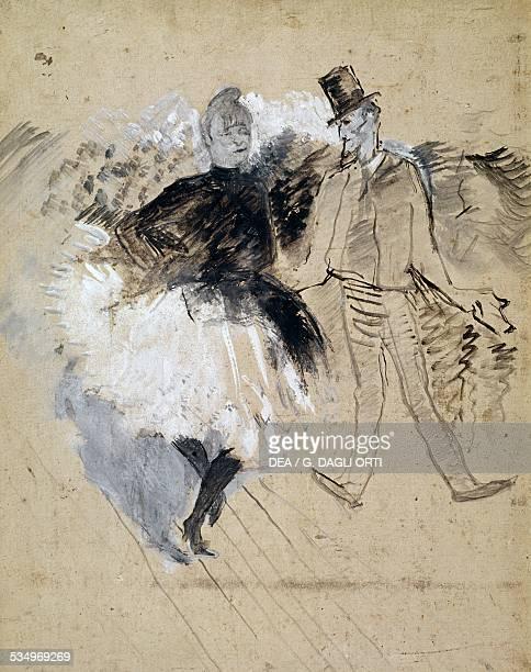 Au Moulin de la Galette La Goulue et Valentin le Desosse' by Henri de Toulouse Lautrec oil on cardboard 52x39 cm France 19th century Albi Musée...