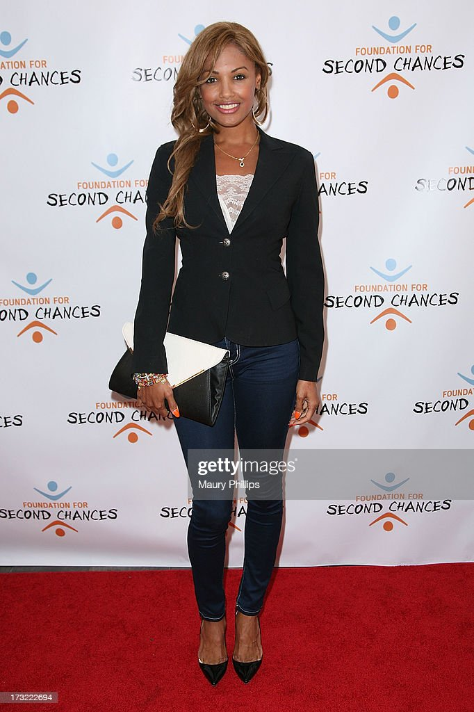 K.D. Aubert arrives at Foundation For Second Chances 'Harlem Nights' Casino event at Huntley Hotel on July 9, 2013 in Santa Monica, California.