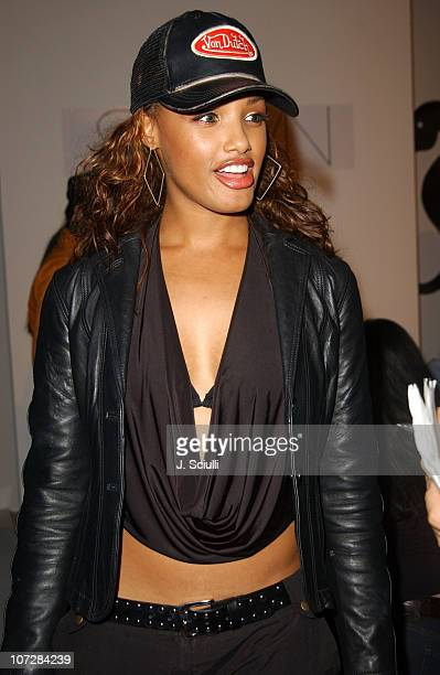 KD Aubert during 2003 Smashbox Fashion Week Los Angeles Shawn Spring Collection 2004 Front Row at Smashbox in Culver City California United States