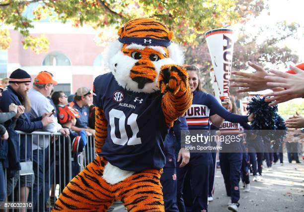 Aubie the Auburn Mascot poses for a photo during a football game between the Auburn Tigers and the LouisianaMonroe Warhawks Saturday November 18 2017...