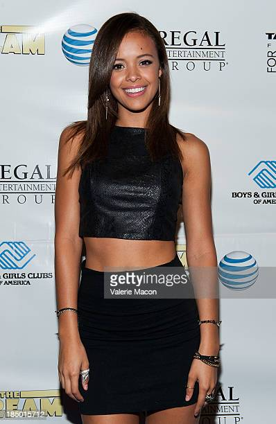 Aubrey Cleland arrives at the Premiere Of Regal Entertainment Group's 'The Stream' at Regal Cinemas LA Live on October 16 2013 in Los Angeles...