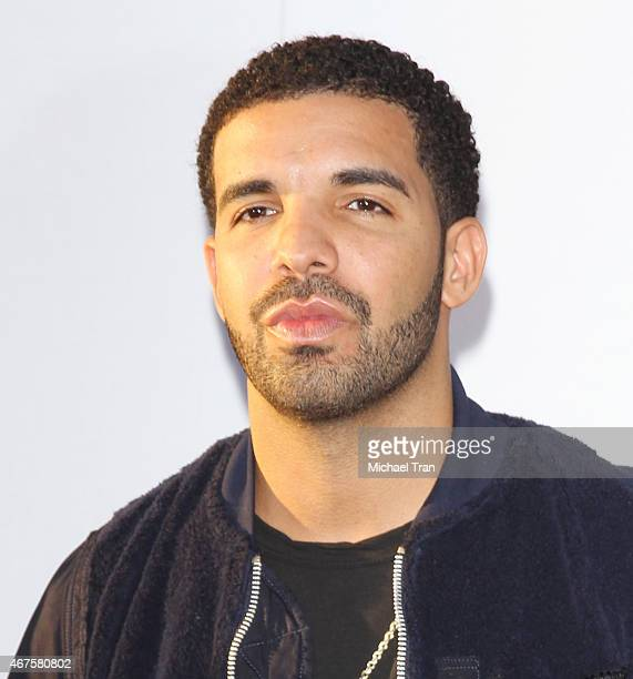 Aubrey Graham aka Drake arrives at the 'Get Hard' Los Angeles Premiere held at TCL Chinese Theatre IMAX on March 25 2015 in Hollywood California