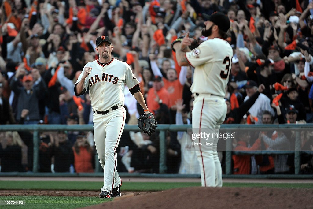 <a gi-track='captionPersonalityLinkClicked' href=/galleries/search?phrase=Aubrey+Huff&family=editorial&specificpeople=208964 ng-click='$event.stopPropagation()'>Aubrey Huff</a> #17 and Brian Wilson #38 of the San Francisco Giants celebrate their win in Game Three of the NLCS against the Philadelphia Phillies during the 2010 MLB Playoffs at AT&T Park on October 19, 2010 in San Francisco, California.