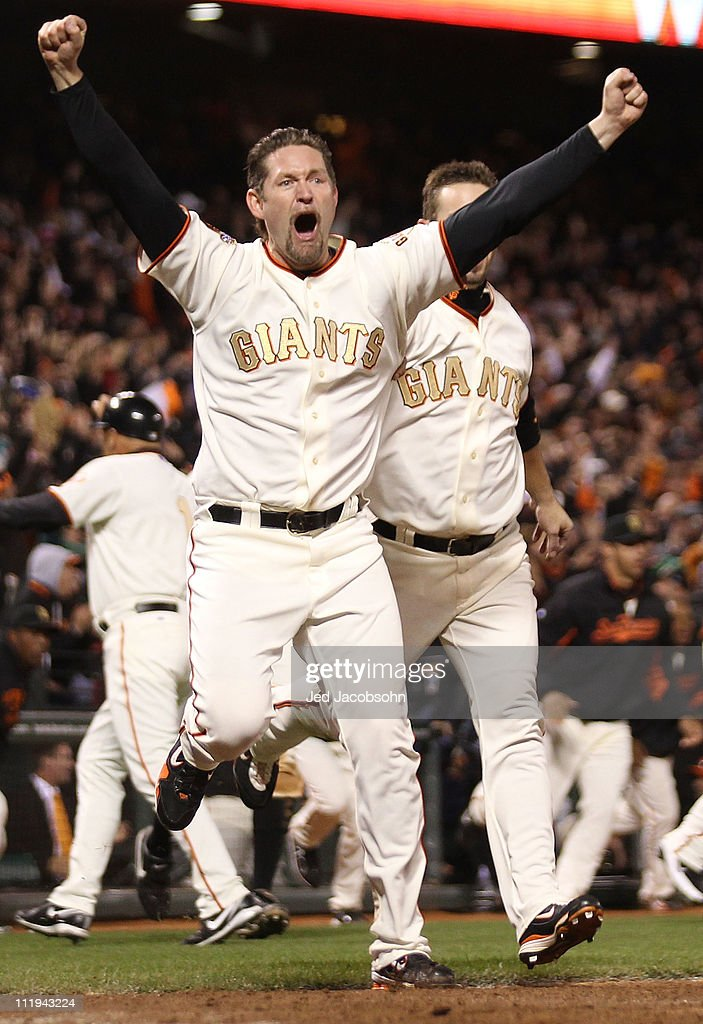 <a gi-track='captionPersonalityLinkClicked' href=/galleries/search?phrase=Aubrey+Huff&family=editorial&specificpeople=208964 ng-click='$event.stopPropagation()'>Aubrey Huff</a> #17 celebrates after Miguel Tejada of the San Francisco Giants hit the game winning hit in the ninth inning against the St. Louis Cardinals at AT&T Park on April 9, 2011 in San Francisco, California.