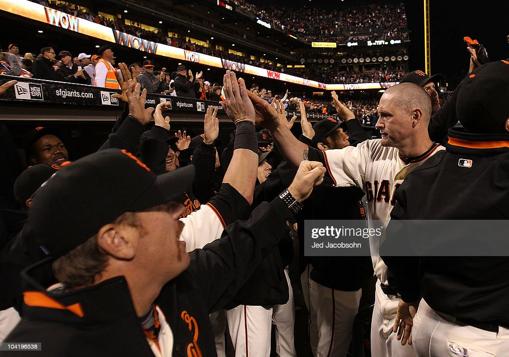 <a gi-track='captionPersonalityLinkClicked' href=/galleries/search?phrase=Aubrey+Huff&family=editorial&specificpeople=208964 ng-click='$event.stopPropagation()'>Aubrey Huff</a> #17 of the San Francisco Giants celebrates with teammates after hitting a three run home run against the Los Angeles Dodgers in the third inning during a Major League Baseball game at AT&T Park on September 16, 2010 in San Francisco, California.