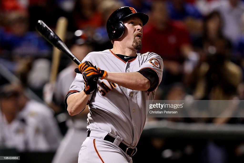 <a gi-track='captionPersonalityLinkClicked' href=/galleries/search?phrase=Aubrey+Huff&family=editorial&specificpeople=208964 ng-click='$event.stopPropagation()'>Aubrey Huff</a> #17 of the San Francisco Giants hits a 2-run home run in the top of the third inning against the Texas Rangers in Game Four of the 2010 MLB World Series at Rangers Ballpark in Arlington on October 31, 2010 in Arlington, Texas.