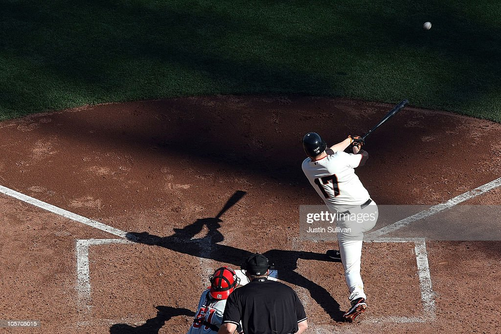 <a gi-track='captionPersonalityLinkClicked' href=/galleries/search?phrase=Aubrey+Huff&family=editorial&specificpeople=208964 ng-click='$event.stopPropagation()'>Aubrey Huff</a> #17 of the San Francisco Giants hits an RBI single in the fourth inning against the Philadelphia Phillies in Game Three of the NLCS during the 2010 MLB Playoffs at AT&T Park on October 19, 2010 in San Francisco, California.