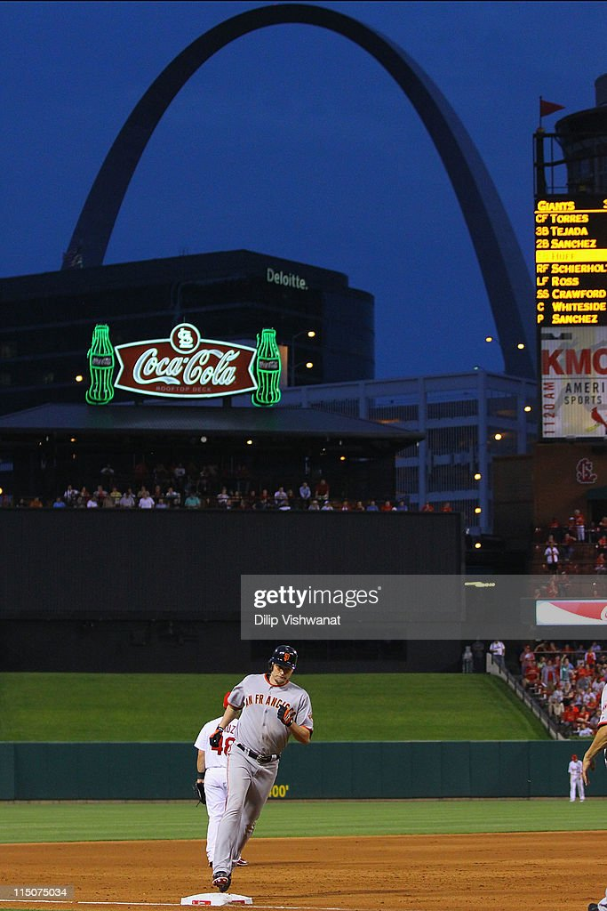 <a gi-track='captionPersonalityLinkClicked' href=/galleries/search?phrase=Aubrey+Huff&family=editorial&specificpeople=208964 ng-click='$event.stopPropagation()'>Aubrey Huff</a> #17 of the San Francisco Giants rounds third base after hitting a two-run home run against the St. Louis Cardinals at Busch Stadium on June 2, 2011 in St. Louis, Missouri.