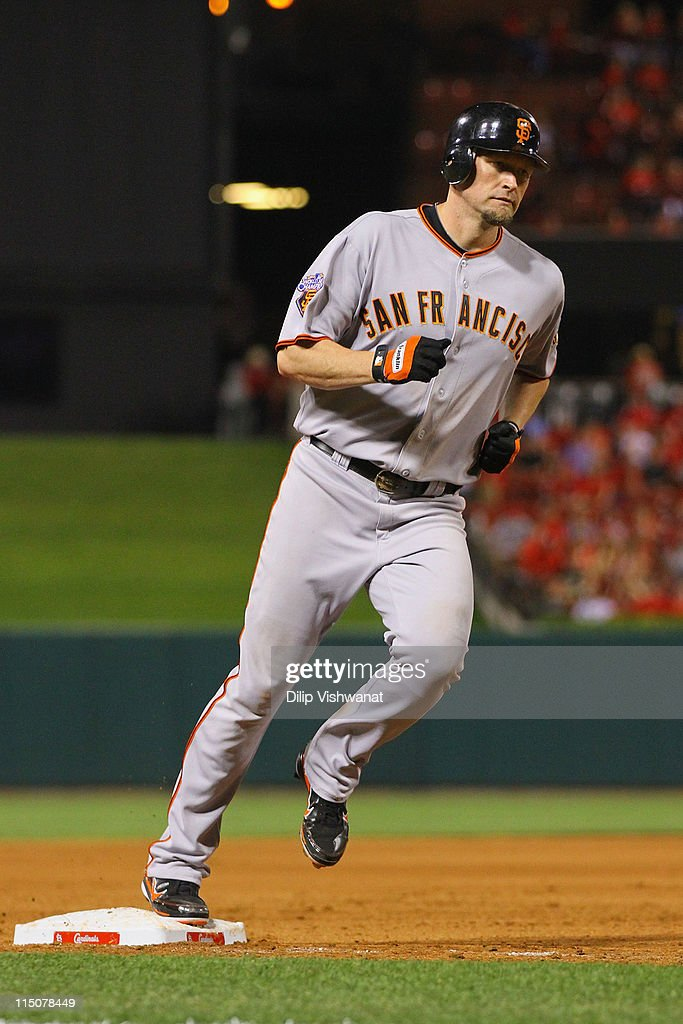 <a gi-track='captionPersonalityLinkClicked' href=/galleries/search?phrase=Aubrey+Huff&family=editorial&specificpeople=208964 ng-click='$event.stopPropagation()'>Aubrey Huff</a> #17 of the San Francisco Giants rounds third base after hitting his first of three home runs against the St. Louis Cardinals at Busch Stadium on June 2, 2011 in St. Louis, Missouri.