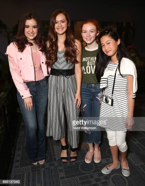 Aubrey Miller Olivia Sanabia Abby Donnelly and Zoe Manarel attend the The Cast Of 'An American Girl Story Summer Camp Friends For Life' Promote Their...