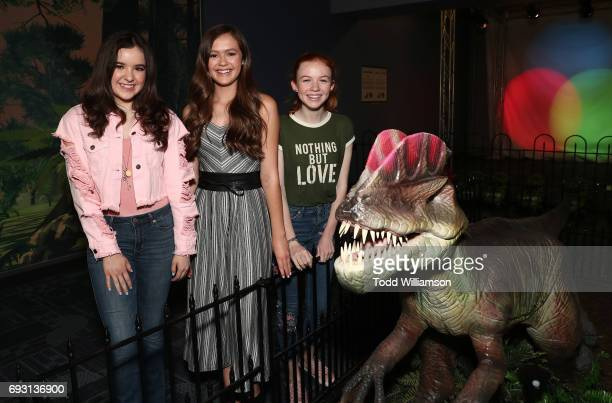 Aubrey Miller Olivia Sanabia and Abby Donnelly attend the The Cast Of 'An American Girl Story Summer Camp Friends For Life' Promote Their Upcoming...