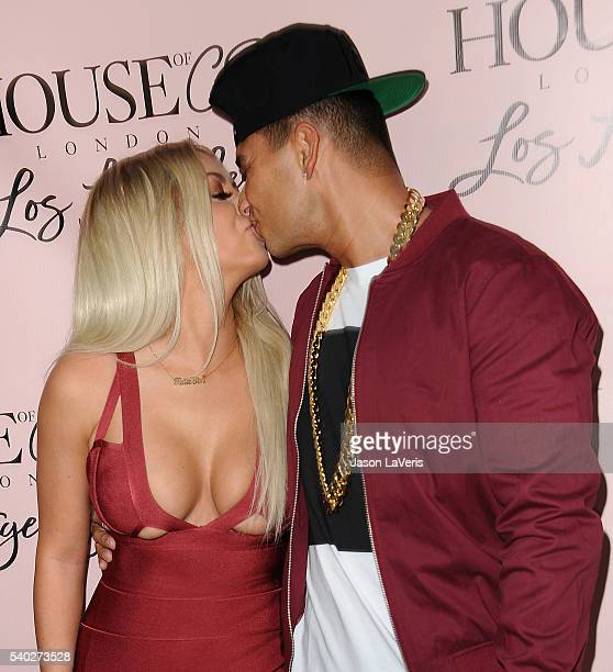 Aubrey O'Day and DJ Pauly D attend the House of CB flagship store launch at House Of CB on June 14 2016 in West Hollywood California